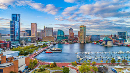 Baltimore, Maryland, USA Downtown Skyline Aerial