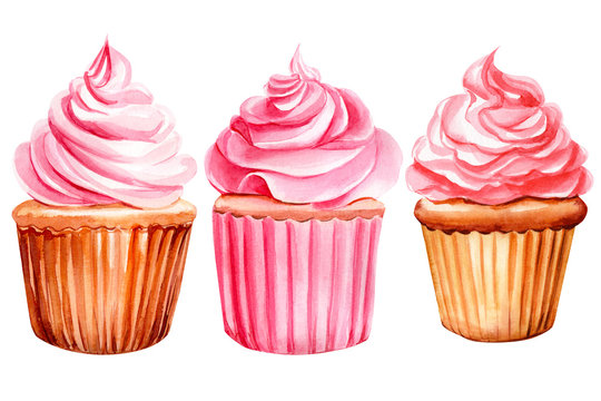 set of pink cupcakes on an isolated white background, watercolor illustration, hand drawing