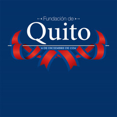 FUNDACION DE QUITO Greeting card - FOUNDATION OF QUITO in Spanish language - Title white on dark blue background with blue and red flags in the form of interwoven ribbon. Vector image