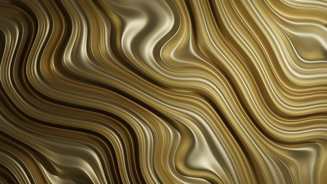 3D Rendering of shinny gold in abstract geometry shape. For precious product background, wallpaper.