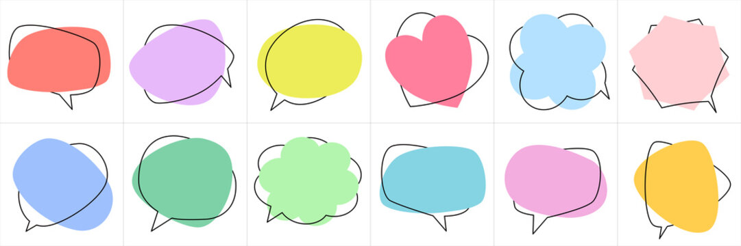 Set of flat colorful bubble speech vector. Banners, price tags, stickers, posters, badges. Isolated on white background.