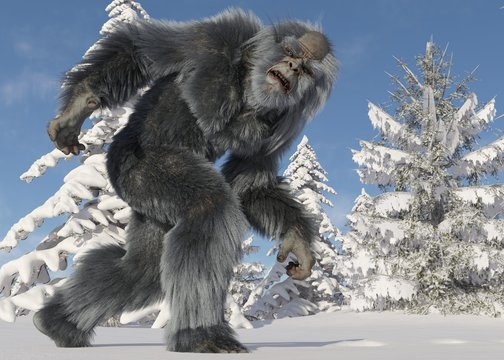 Yeti winter in the forest 3d illustration