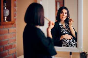 Pregnant Woman Applying Make-up in Front of a Mirror