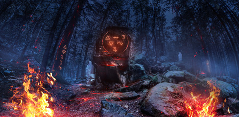 3d image wide panoramic night witch forest with ghosts.