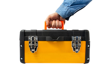 Isolated worker hand holding yellow toolbox.