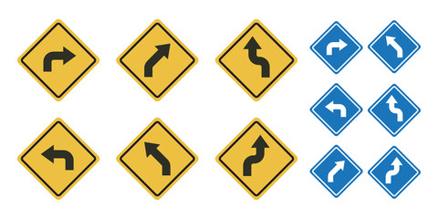 Set street sign symbol vector concept with flat graphic design