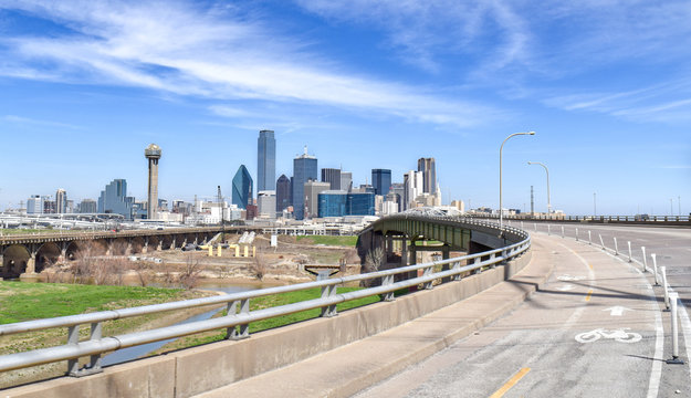 Empty Bike Path and Highway Leading to Downtown Dallas, Texas, USA
