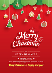 Merry christmas and happy new year greeting card banner template. Use for poster, website, cover, flyer.