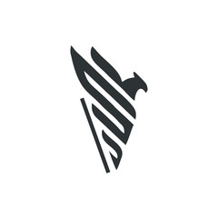 bird vector design logo. drawing eagle flapping its wings