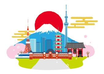 日本の町並み イメージイラスト