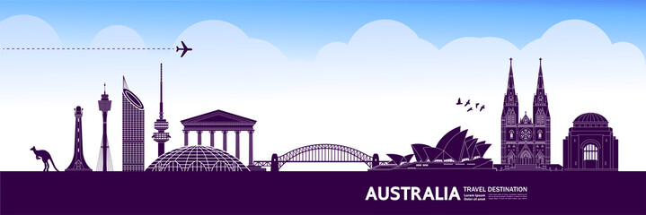 Fototapete - Australia travel destination grand vector illustration.