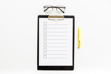 Empty check list ready to fill on white background top view copy space