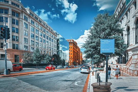 Washington, USA, urban cityscape of the city. Downtown district.
