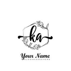 Obraz Initial KA beauty monogram and elegant logo design, handwriting logo of initial signature, wedding, fashion, floral and botanical with creative template - fototapety do salonu
