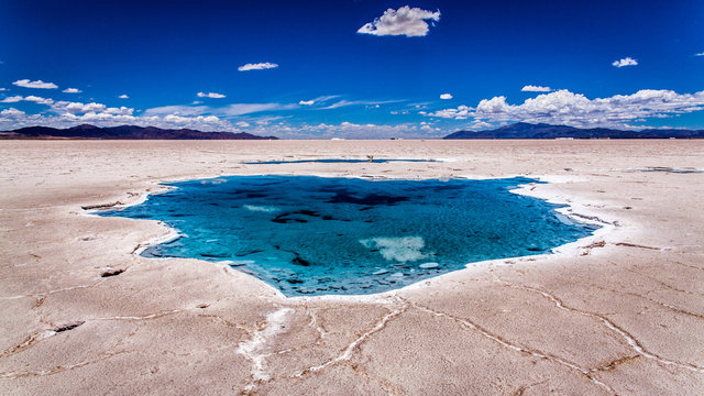 Salty water puddles on the salt flat of Salta, Argentina