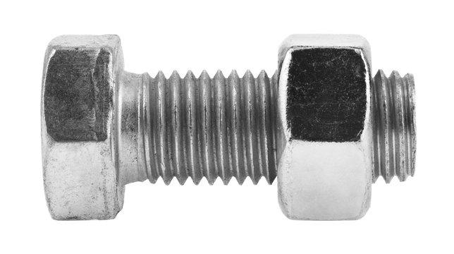 Metal bolt with nut isolated on a white background.