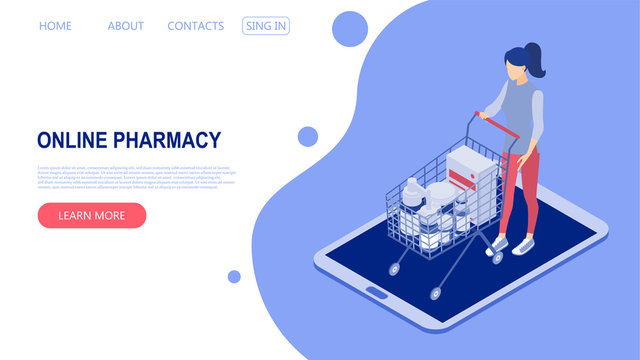Landing page template with the concept of an online pharmacy. Woman buys medicine. Isometric vector illustration.