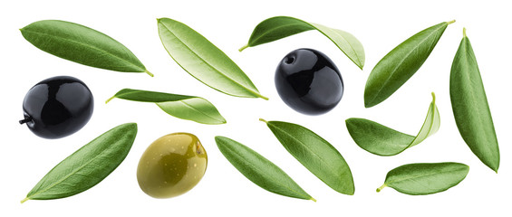 Black and green olives with leaves isolated on white background