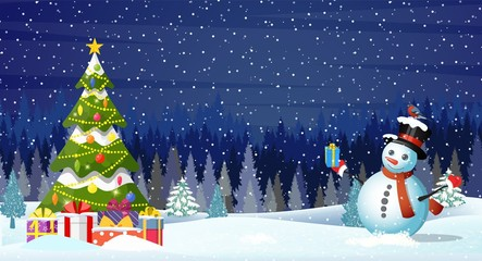 Christmas landscape at night. christmas tree and snowman. concept for greeting or postal card.