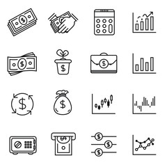 Money and financial icon set - vector. Single line stroke.