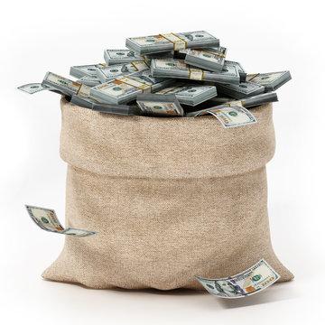 Sack full of money isolated on white background. 3D illustration