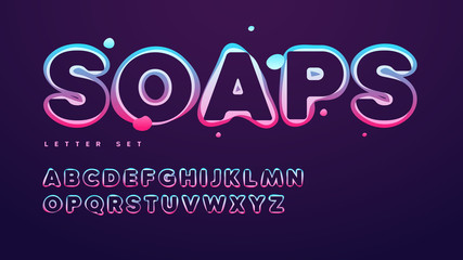 Funny soap vector alphabet, uppercase letter set, font, typography