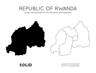 Rwanda map. Blank vector map of the Country with regions. Borders of Rwanda for your infographic. Vector illustration.