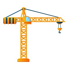 Construction crane icon. Cartoon of construction crane vector icon for web design isolated on white background