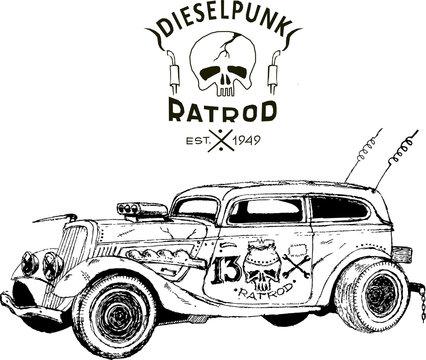 diesel punk hot rod coupe, isolated, vector arts, kustom kulture, post apocalypse zombie war