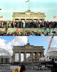 A combination photo of the Brandenburg Gate in Berlin