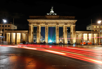 A long time exposure picture shows the Brandenburg Gate in Berlin