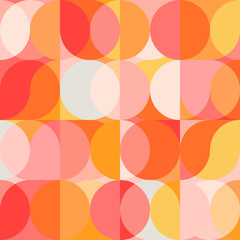 Fototapeta Geometric vector seamless pattern with circle shapes in pastel colors. Modern mosaic background in retro style. obraz