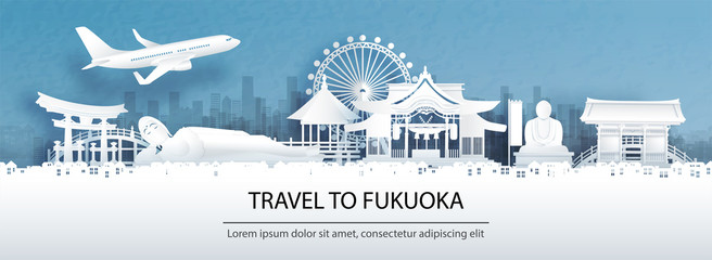 Fototapete - Travel advertising with travel to Fukuoka concept with panorama view city skyline and world famous landmarks of Japan in paper cut style vector illustration.