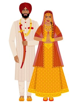 Indian bride and groom in traditional costumes