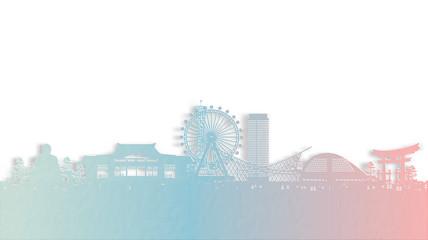 Fototapete - Travel poster with Kobe, Japan famous landmark in paper cut style vector illustration.
