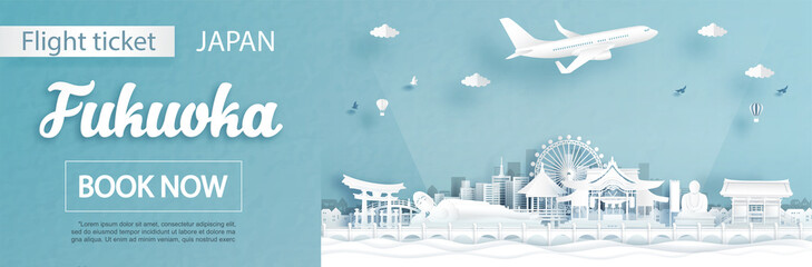 Fototapete - Flight and ticket advertising template with travel to Fukuoka, Japan concept and famous landmarks in paper cut style vector illustration