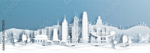 Fototapete Panorama view of Hong Kong skyline with world famous landmarks of China in paper cut style vector illustration.
