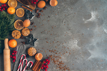 Beautiful composition of Christmas cooking of traditional holiday sweets