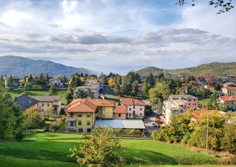 Beautiful  view of the village of Bercheto, located in the Apennine mountains between La Spezia and Parma in the valley of the Taro River.