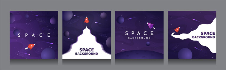 Vector illustration in abstract flat style. Minimalistic color space. Space exploration concept. Posters with copy space for text. Set of violet backgrounds. Square social media templates