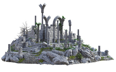 3D Rendered Ancient Castle Ruins on White Background - 3D Illustration Fototapete