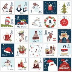 Fototapeta Christmas cartoon advent  calendar. Countdown till Christmas kit obraz