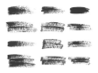 Halftone dots in lines . Paint brush strokes. Graphic design element. Vector Wall mural