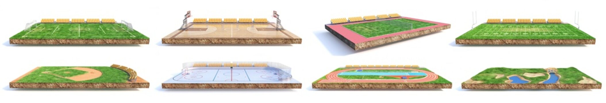 Sport concept. Set of different sports fields on a piece of ground isolation on a white background. 3d illustration