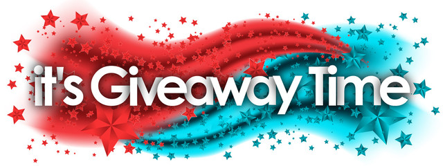 It's Giveaway Time word in stars colored background