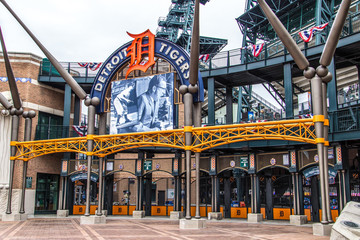 Detroit, Michigan, USA - March 28, 2018: Exterior of Comerica Park home to the Detroit Tigers. The ballpark has a capacity of over 41,000