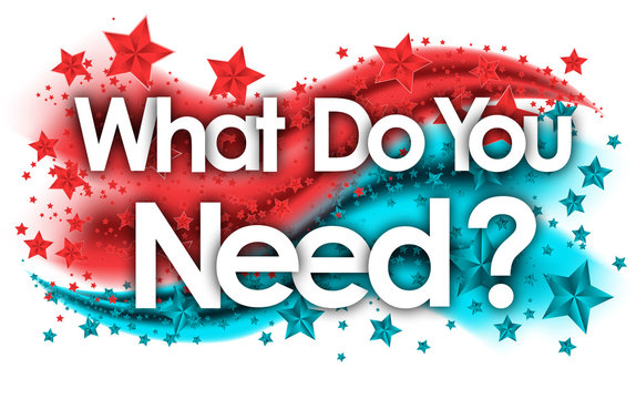 What Do You Need word in stars colored background