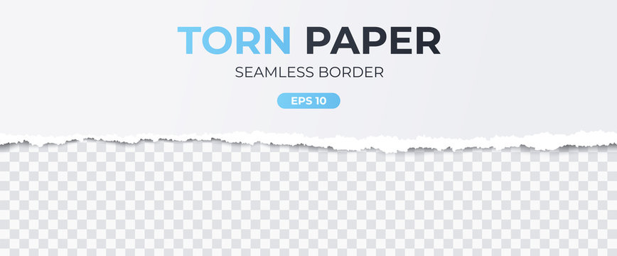 Seamless torn ripped paper layered isolated. White color. Transparent background. Realistic template. Simple modern design. Flat style vector illustration.