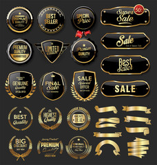 Gold and black badges retro vintage collection