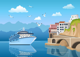 Landscape with Great cruise liner near coast with buildings and houses, tourism Papier Peint